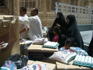 Distribution of food and household items